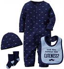 New Carters Baby Boys 4 Pc Moustache Converter Bodysuit Set Newborn and 3 M