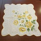 Yellow Rose Daisy Iris Polka Dot Estate Vintage Handkerchief Hanky 155 x 165
