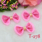 5PC DIY hot pink Dotted Lace bow Satin Ribbon Applique Wedding festival Bowknot