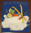 1950s Fluffies Cotton Child Skiing Blue Christmas CArd