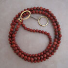 lanyard brown red jasper gold ID badge holder 32 inches handcrafted