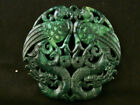 Exquisite Chinese Green Jade *2Phoenix/2Dragons* 2Faces Plaque Pendant K175