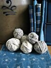 6 Small Rag Balls Made From 1890s Light Blue Rug Strips