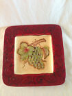 Square Certified International Plate Red Trim Grapes  Kate McRostie 9 x 9