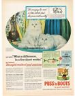 1956 PUSS N BOOTS Cat Food White Persians Vtg Print Ad