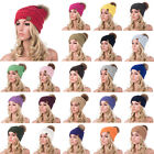 Womens Winter Wool Knit Crystal Style Large Real Fur Pom Pom Beanie Hat Cap A404