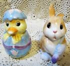 Fitz and Floyd PAINTING EASTER EGGS Salt & Pepper Shakers 678/101 Bunny & Chick