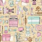 Home Sweet Home Fabric Baking Vintage Kitchen Tools Multi on Cream Background