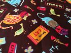 Colorful Kitty Cats on Brown Kitten Cat Novelty Quilt Fabric by the HALF YARD