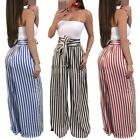 Women Fashion Stripe High Waist Wide Leg Long Vintage Pants Palazzo Trouser X2Q8