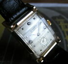 Mens 1940s Gruen CURVEX Chancellor 14K SOLID GOLD Diamond Dial Curved Deco Watch