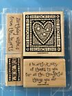 Stampin Up MOSAIC HEART Stamp Set of 4 Hearts Valentines Heartfelt Thanks