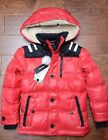NWT Diesel Boys Sherpa Red Ultra Clean Down Insulated Parka Coat Jacket Size 8