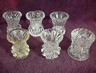 VINTAGE LOT OF 6 CLEAR GLASS CRYSTAL TOOTHPICK HOLDERS