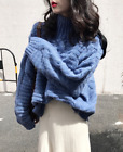 Women High Neck Long Sleeves Winter Knitted Sweater Pullover Blouses Top Sweatr
