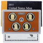 2011 S US Mint Presidential 1 Dollar Coin Proof Set 4 Coins COA