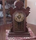 ANTIQUE WALNUT GINGERBREAD CLOCK INGRAHAM NICE CONDITION