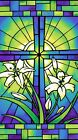 Rejoice Fabric Panel Blue Green Cross and Easter Lilly Premium Cotton