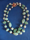 Vintage Green Stone Glass Jade Color necklace with gold clasp marked VOGUE