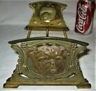 ANTIQUE ART NOUVEAU JUDD CAST IRON BRASS BULLDOG DOG BOOK RACK HOLDER BOOKENDS