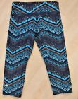 ALO Airbrush Yoga Crop Pants size S Blue Aztec Z Dri Technology EUC Gym Run Spin