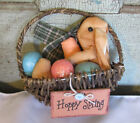 Primitive Cloth Easter Bunny in Egg Basket w Sparkly Easter Eggs HAPPY SPRING