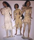 "Lot (3) Ashton-Drake Sandra Bilotto Indian 20"" Collectible Dolls w Stands"