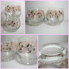 VTG 1960s Retro Pink Gold Flowers Libbey Glass Roly Poly Creamer Sugar Dish