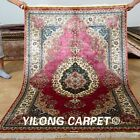 Yilong 4'x6' Handmade Silk Rugs Persian Antique Floral Carpets Hank Knotted 0120