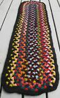 VINTAGE HAND MADE BRAIDED RUG RUNNER, COLORFUL