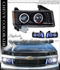6000K HID XENON BLK HALO LED PROJECTOR HEAD LIGHTS 04-12 CHEVY COLORADO/CANYON
