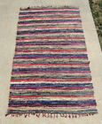BIG Beautiful Vintage Primitive style Woven Rag Rug Blue Purple 8'7