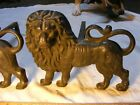 >> Lion Andirons , nicely detailed , brass not cast iron , 7 3/4