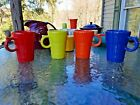 set 4 LATTE MUG CUP scarlet lemongrass poppy lapis FIESTA WARE new