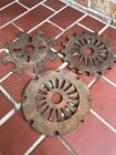 (3) Vintage Cast Iron Planter Seed Plates Gears Steampunk Weld Art Rustic Farm