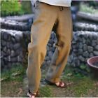 Chinese Mens Summer Cotton Linen Wide Leg New Long Pants Harem Vintage Trousers