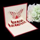 3D Pop Up Card Butterfly Happy Birthday Greeting Cards Invitations Handmade Gift