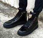 Mens High Top Ankle Boots Patent Leather Lace Up Sneakers Round Toe Shoes Vogue