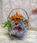 Vintage Handmade French Glass Seed Bead Flowers Bouquet Basket Decor or Wedding