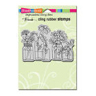 STAMPENDOUS RUBBER STAMPS CLING FLOWER JARS NEW cling STAMP