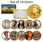 HISTORCIAL NATIVE AMERICANS Colorized American Gold Buffalo 10 Coin Set INDIANS