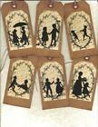 12 PRIMITIVE TAGS ~ Silhouettes ~HANG TAGS~folk~Grungy~