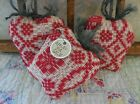 Handmade APPLE Bowl Fillers Vintage Red Woven Coverlet Apples Farmhouse Decor