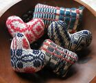 Handmade Scrappy Mini Bowl Fillers Vintage Woven Coverlets Patriotic Ornaments