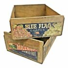 2 Vintage WOOD SHIPPING CRATE lot advertising industrial box bin GRAPES label CA