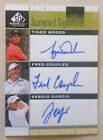Tiger Woods Garcia Couples 2012 SP Game Used Triple Autograph serial # 9 9