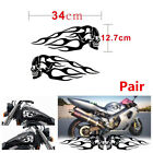 Cool Pair Black Skull Flame Stripes Motorcycle Gas Tank Decal Sticker 34x12.7cm