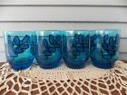 Set of 4 Vintage Blue Glass Tumblers with Leaf Pattern Mid Century 4 1/2