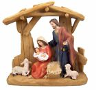 Saint Joseph Virgin Mary and Infant Christ in Manger Resin Nativity Set 12 Inch