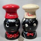 Vintage Black Americana Wooden Mammy  Pappy SP Shakers